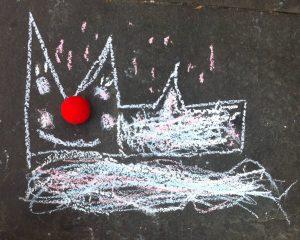 Kinderzeichnung - Der Dom als Karnevalsjeck