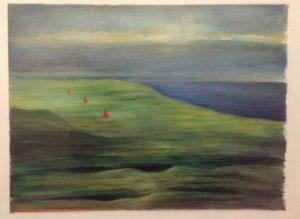[Drei Hütchen in irischer Landschaft] Aquarell auf Papier, 34*32 cm, 1986