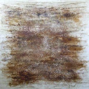 #46 [Auf dem Teppich der Tatsachen] Pigmente, Marmormehl, Stahlwolle, Gummi arabicum, Kochsalz, Zitronensaft, Acryl auf Lw., 80*80 cm, 2015