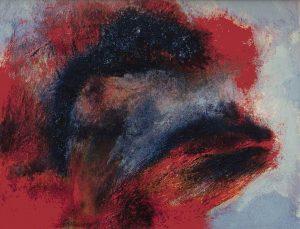 [Drachenköpfe] Öl, Pigmente, Dammarfirnis, Holzkohle, Schwämme auf Nessel, 40*50 cm, 1987
