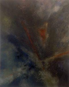 #7 [Graue Explosion] Pigmente, Graphit, Metallfarbe, Textilfasern, Dammarfirnis auf Lw., 100*80 cm, 1989
