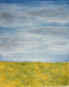 [Holländische Landschaft] Öl, Sand auf Lw., 60*44 cm, 1987