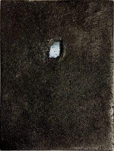 [Kellerfenster] Steinkohle, Pigmente, Dammarfirnis auf Hartfaserplatte, 20*14,5 cm, 1988
