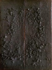 #5 [Riss] Pigmente, Graphit, Steinkohle, Dammarfirnis auf Lw., 40*30 cm, 1988