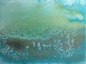 #137 [Blau Gold] Pigmente, Sand, Eisen- und Goldpulver, Dammarfirnis auf Lw., 30*40 cm, 2018