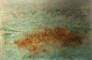 #91 Pigmente, Eisenpulver, Salz, Oxido Kupfer, Chroma Kupfer, Gummi arabicum, Acryl auf Papier, 53*78 cm, 2016