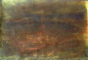 #97 Pigmente, Sand, Eisenpulver, Oxido Kupfer, Chroma Kupfer, Acryl, Aquarell, Gummi arabicum auf Papier, 53*78 cm, 2016-