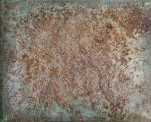#87 Pigmente, Chroma Kupfer, Oxido Kupfer, Eisenpulver, Stahlwolle, Salz, Marmormehl, Gummi arabicum auf Lw., 40*50 cm, 2016/2017,