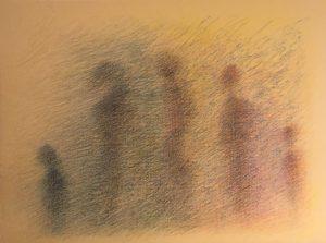 Figuren im Nebel], Farbstift auf Büttenpapier, 30*40 cm, 2001