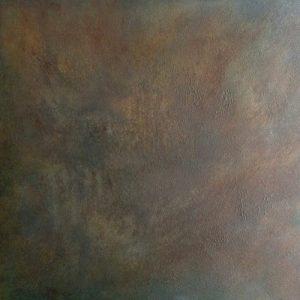 #113 Pigmente, Sand, Marmormehl, Eisenpulver, Oxido Kupfer, Chroma Kupfer, Essig, Gummi arabicum, Acryl auf Lw., 100*100 cm, 2016/2017