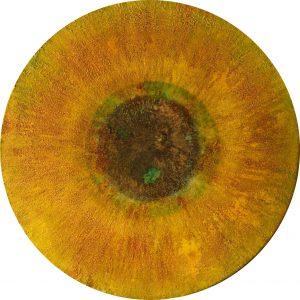 #104 [Iris] Pigmente, Chroma Kupfer, Oxido Kupfer patiniert, Eisenpulver, Kochsalz, Gummi arabicum, Acryl auf Lw., ø 30 cm, 2016