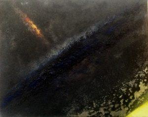 #4 [Komet] Pigmente, Graphit, Steinkohle, Dammarfirnis auf Lw., 40*50 cm, 1988