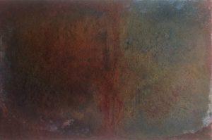 #103 [Narben] Pigmente, Sand, Marmormehl, Stahlwolle, Salz, Essig, Chroma Kupfer, Gummi arabicum, Acryl auf Lw., 40*60 cm, 2016