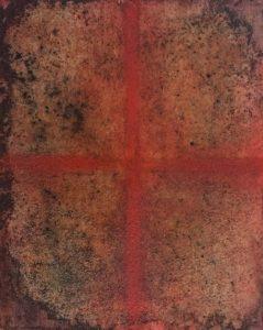 #140 Pigmente, Graphit, Eisenpulver, Salz, Dammarfirnis auf Lw., 30*24 cm, 2018, € 300,-