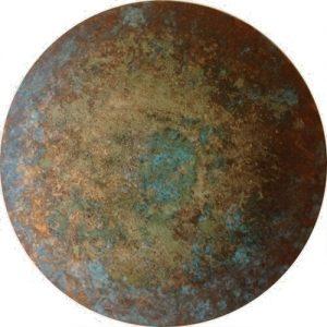 #77 Oxido Kupfer patiniert, Chroma Kupfer, Stahlwolle, Gummi arabicum auf Lw., ø 30 cm, 2016