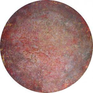 #80 Pigmente, Marmormehl, Stahlwolle, Gummi arabicum, Acryl auf Lw., ø 40 cm, 2016