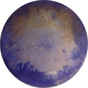 #82 Pigmente, Marmormehl, Stahlwolle, Essig, Salz, Chroma Kupfer, Gummi arabicum, Acryl auf Lw., ø 40 cm, 2016