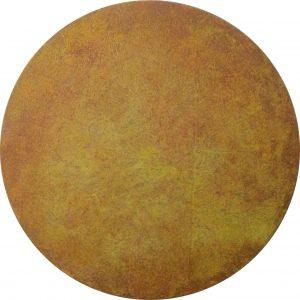 #86 Pigmente, Oxido Kupfer, Chroma Kupfer, Stahlwolle, Gummi arabicum, Acryl auf Lw., ø 40 cm, 2016,