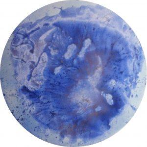#90 Décalcomanie - Pigmente, Chroma Kupfer, Stahlwolle, Eisenpulver, Salz, Marmormehl, Aquarellfarbe, Gummi arabicum auf Lw., ø 50 cm, 2016