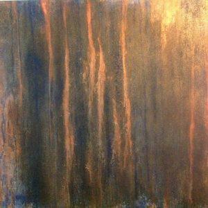 #61 Pigmente, Graphit, Stahlwolle, Chroma Kupfer, Marmormehl, Gummi arabicum, Acryl auf Lw., 100*100 cm, 2015