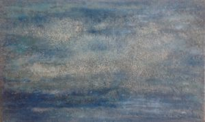 #118 [Wolken] Pigmente, Marmormehl, Sand, Blanc fixe (Bariumsulfat), Graphit, Gummi arabicum, Acryl auf Lw., 30*50 cm, 2017
