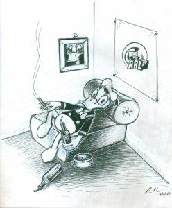 [Donald auf bequemem Ruhemöbel] Tusche und Tipp-Ex auf Papier, 25*21 cm, 1985 © DISNEY