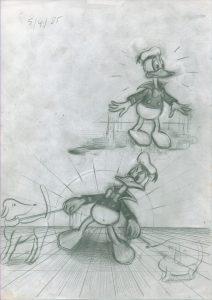 [Donald Duck, 2 Szenen für einen Comic] Bleistift auf Papier, 29,7*21 cm, 1985 © DISNEY