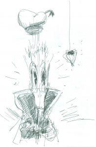 [Donald Duck und die Spinne] Tusche auf Papier, 21*15 cm, 1985 © DISNEY