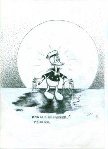 [Donald im Modder! Peinlich.] Tusche und Tipp-Ex auf Papier, 29,7*21 cm, 1985 © DISNEY